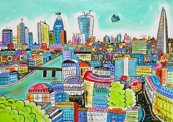 Cartoon London, original painting